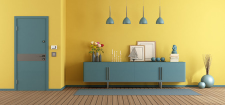 Yellow and blue home entrance with sideboard and closed door - 3d rendering