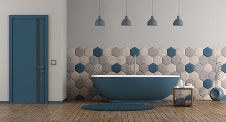 Blue and gray modern bathroom with bathtub and closed door - 3d rendering Фото со стока