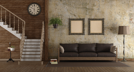 Retro living room with wooden stair and leather sofa - 3d rendering