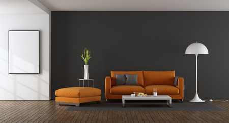 Modern living room with orange sofa and footstool against gray wall - 3d rendering