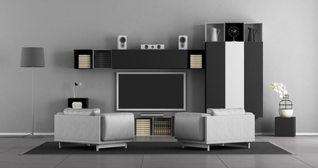 Living room with leather armchair and wall unit with tv set - 3d rendering