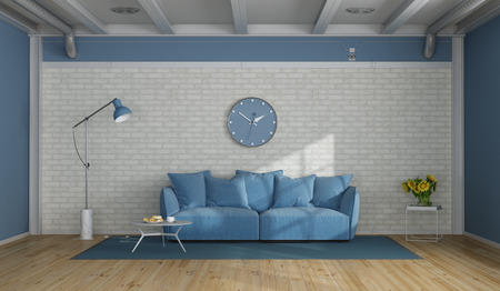 Blue and white modern living room with soa against brick wall - 3d rendering Фото со стока