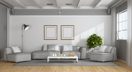 White and gray modern living room in a loft - 3d rendering