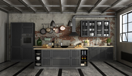 Vintage black kitchen with island in a loft - 3d rendering