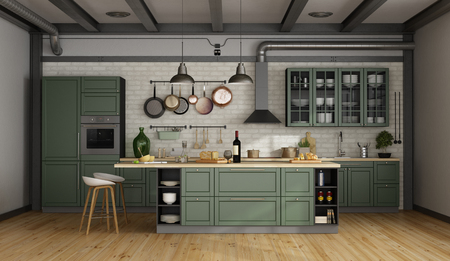 Vintage green kitchen with island in a loft - 3d rendering Фото со стока