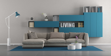 Modern living room with sofa and blue bookcase - 3d rendering