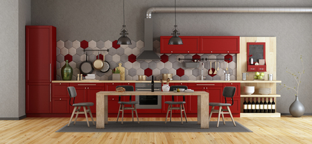 Retro red kitchen with wooden dining table and chairs - 3d rendering