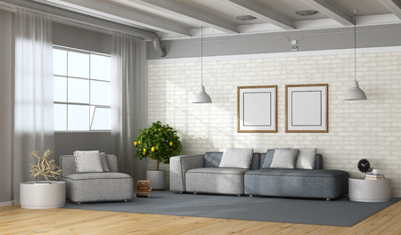 Modern living room in a loft with fabric sofa and armchair - 3d rendering
