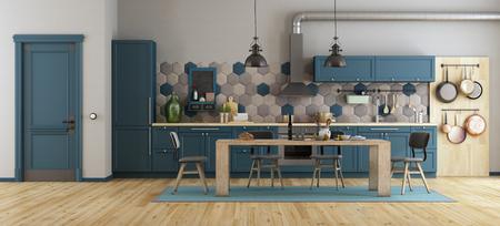 Retro blaue Küche mit Esstisch aus Holz, Stühlen und geschlossener Tür - 3D-Rendering