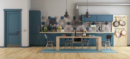Retro blue kitchen with wooden dining table, chairs and closed door - 3d rendering Stok Fotoğraf