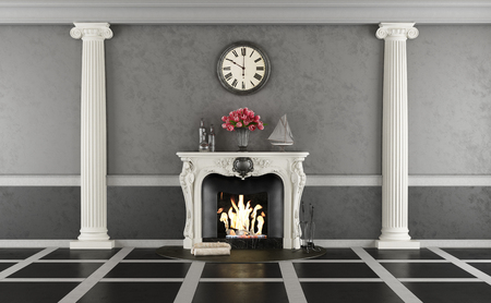 Living room in classic style with elegant fireplace and two ionic columns - 3d rendering