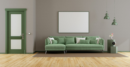 Elegant living room with green sofa, closed door and blank frame - 3d rendering