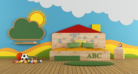 Colorful playroom with large wooden bed and blackboard on wall - 3d rendering