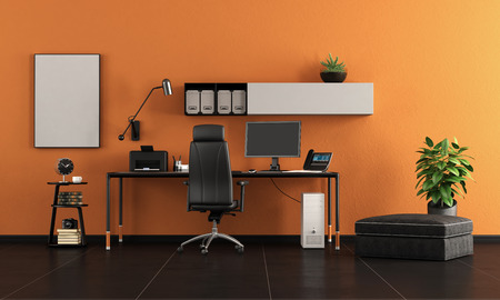 Black and orange home office with minimalist desk with pc - 3d rendering