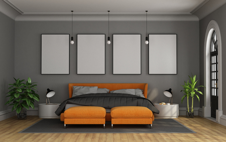 Bedroom in classic style with orange modern bedroom - 3d rendering Фото со стока