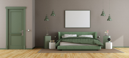 Elegant master bedroom with green double bed and brown wall - 3d rendering
