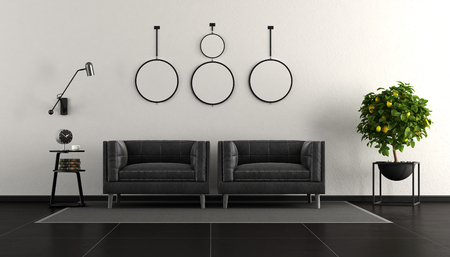 Black and white modern living room with two armchair - 3d rendering Фото со стока