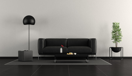 Minimalist black and white living room with leather sofa,footstool and floor lamp - 3d rendering Фото со стока