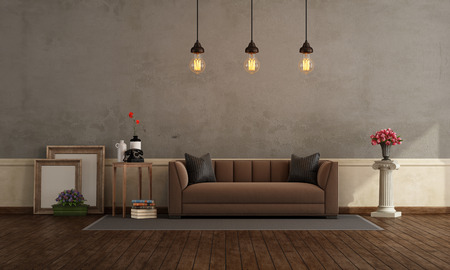 Retro living room with old wall and brown fabric sofa - 3d rendering Фото со стока