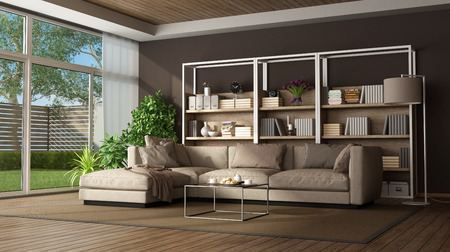 Brown living room with sofa , bookase and large window - 3d rendering Фото со стока