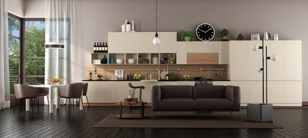 Large living room with kitchen,dining table and sofa - 3d rendering