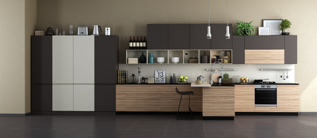 White,brown and wooden kitchen with island - 3d rendering