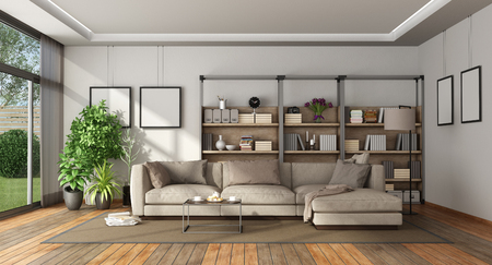 Living room of a villa with bookcase and sofa - 3d rendering Фото со стока