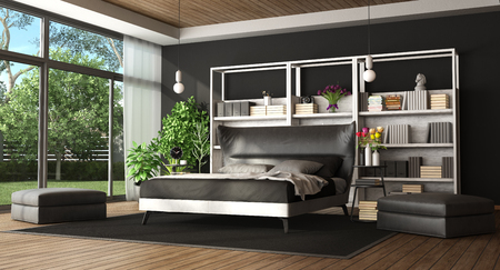 Master bedroom in a modern villa with black and white bed,bookcase