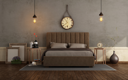Retro master bedroom with brown double bed and wooden nightstand against old wall - 3d rendering Фото со стока