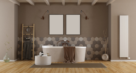 Elegant bathroom with bathtub and hexagonal tiles on wall - 3d rendering