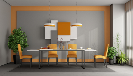 Gray and orange dining room with table and chairs on carpet - 3d rendering