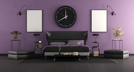 Black and purple master bedroom with elegant double bed and decor objects - 3d rendering