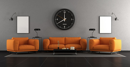 Modern living room with orangesofa and armchairs - 3d rendering