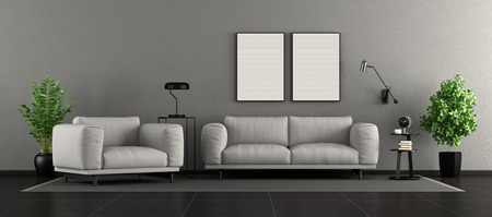 Minimalist living room with sofa and armchair -3d rendering