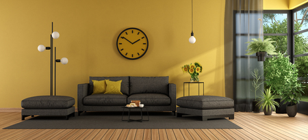 Modern living room with gray sofa and footstool against yellow wall - 3d rendering