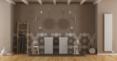 Elegant bathroom with double washbasin and hexagonal tiles on wall - 3d rendering Фото со стока