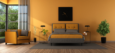 Gray and orange master bedroom with double bed , armchair and large window - 3d rendering