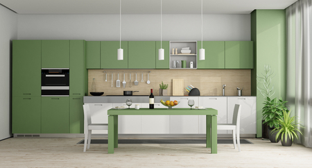 Green and white modern kitchen with dining table - 3d rendering