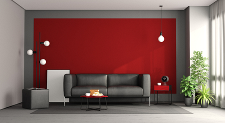 Living room with black sofa against red wall - 3d rendering