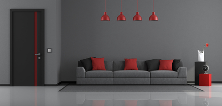 Gray,black and red modern living room with modern sofa and closed door - 3d rendering