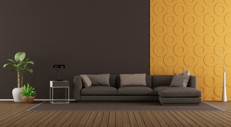 Modern living room with brown sofa against orange decorative panel - 3d rendering