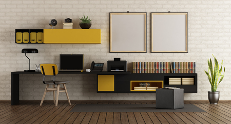 Modern home office with black and yellow furniture against white brick wall - 3d rendering