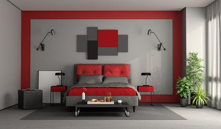 Red and gray modern master bedroom with double bed and coffee table with breakfast - 3d rendering Фото со стока
