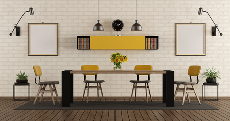 Modern dining room with black and yellow furniture against brick wall - 3d rendering