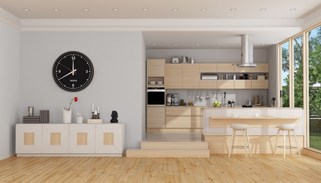 Modern wooden kitchen with island, sideboard and large windows - 3d rendering