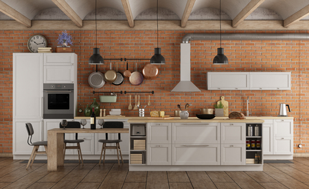 Retro white kitchen in a old interior with island and brick wall - 3d rendering