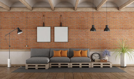 Pallet sofa in a vintage interior with brick wall - 3d rendering