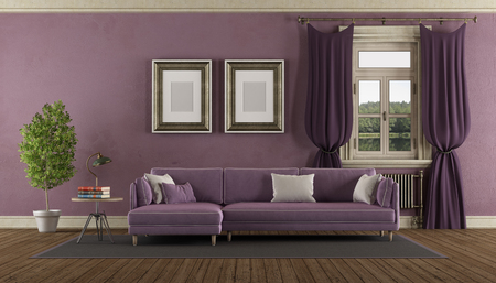 Purple retro living room with elegant sofa - 3d rendering Banque d'images - 116480786