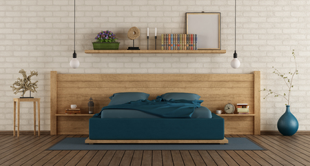 Mater bedroom with wooden duoble bed against white brickwall - 3d rendering Фото со стока