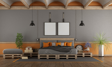 Gray and orange master bedroom with pallet bed - 3d rendering Banque d'images - 116480788